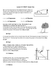Printables Angle Of Elevation And Depression Worksheet lesson 8 4 wkst answer key 2014 ben is on the