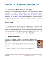 LESSON 10 - THEORY OF PROBABILITY