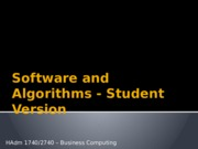 SW and Algorithms for Students(1)