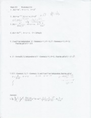 Worksheet 14- Bivariate Normal