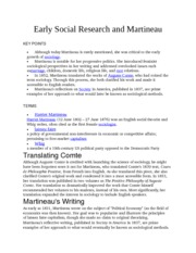 Early Social Research and Martineau Notes