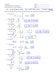 Intermolecular Forces Worksheet - Chemistry Intermolecular ...