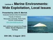 Week 2 Lecture 4 - Marine Environments