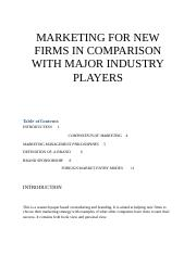 MARKETING FOR NEW FIRMS IN COMPARISON WITH MAJOR INDUSTRY PLAYERS