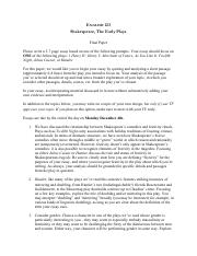 english 124 final essay Free essays, research papers, term papers, and other writings on literature, science, history, politics, and more.
