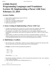Lecture 10 Implementing a Parser with Yacc