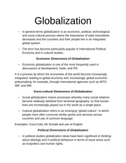 Intro to Globalization Notes