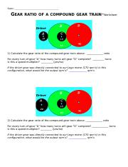 Gears-Compound Gears Ratio WorkSheet - Name GEAR RATIO OF A ...