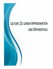 MATB110 Scan Notes Lecture 13 Linear Approximation