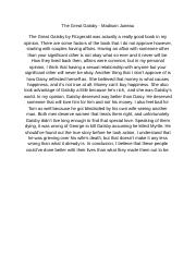 The Great Gatsby - Analytical Essay