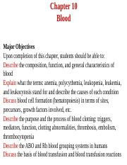 #Biology Chapter 10 Blood