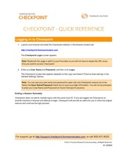 Check Point Quick Reference
