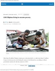 12M Filipinos living in extreme poverty  Inquirer News