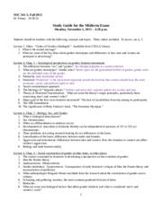 SOC 341_STUDY GUIDE MIDTERM Fall 2015