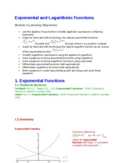 4 Exponential and Logarithmic Functions