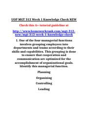 UOP MGT 312 Week 1 Knowledge Check NEW.doc