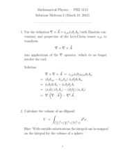 Midterm Exam 2 Solution on Mathematical Physics