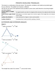 PROOFS INVOLVING TRIANGLES