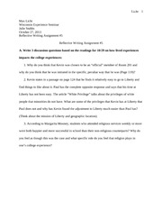 Reflective Writing Assignment       Licht Max Licht Wisconsin
