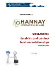 SITXMGT Establish and conduct business relationships.docx