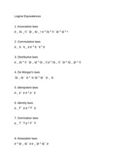 Math 125 Logical Equivalences