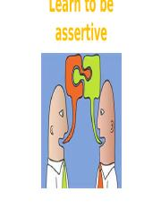 Learn to be assertive