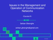 Lecture1 Interconnection networks overview for Issues in Management and Operation of Communication N
