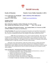 EDPE300 Ed Psych Course Outline Fall 2013