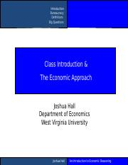 Class Intro and the Economic Approach.ppt