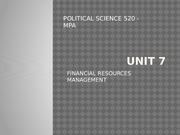 Unit 7 - Financial Resource Management