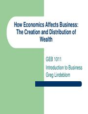 How Economics Affects Business - GEB1011 INTRO BUS ONLINE 483486