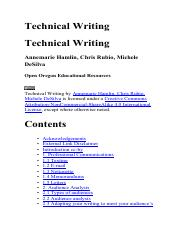 Technical Writing, by Annemarie Hamlin, Christ Rubio, Michele DeSilve (Open ORegon Educational Resou