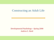 Emerging Adulthood Lecture