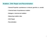 Lec 16 mutation repair recombination