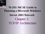 Planning A Microsoft Windows Server 2003 Network Chapter 02