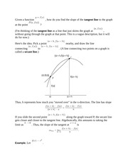 Definition of Derivaties and Tangent Lines Notes