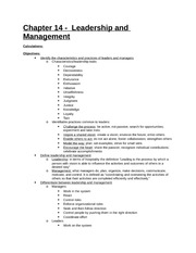 Study Guide - Part 4 - Chapter 14 - Leadership and Management