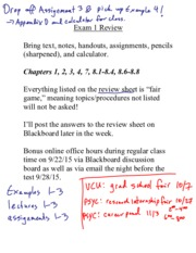 Exam 1 review in class