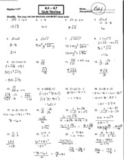 Printables Algebra 2 Worksheets And Answers 5 1 worksheet answer key 3 pages 4 7 quiz review key