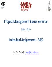 Project Management Basics - Individual Assignment