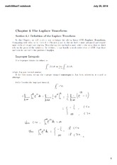 Lecture 7 Set on the Laplace Transform