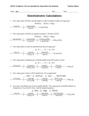 Worksheet - Stoichiometric Calcs - Teacher - NOTE: Problems 7-10 ...