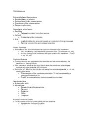PSY100 Brain and Behavior Neuroscience Lecture Notes