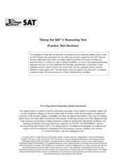 Taking the SAT I Reasoning Test