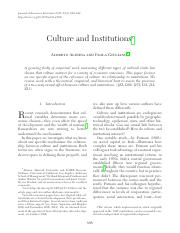 culture and institutions