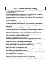 1115 notes earthquakes