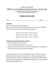 Test 1 Review Sheet Finance