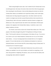 tft christian music industry essay
