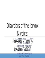 Laryngeal disorders