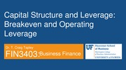 FIN 3403 - Module 10 - Chapter 14 - Capital Structure and Leverage - Student
